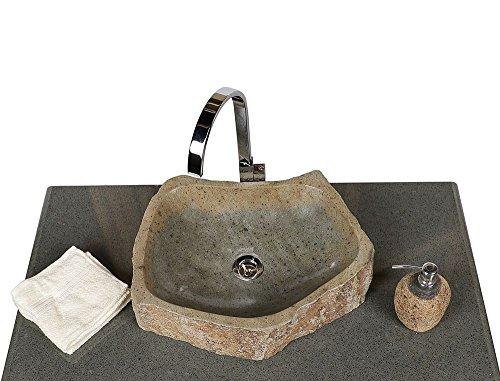 Wohnfreuden Naturstein Waschbecken Megalith rund oval 45 cm poliert ✓ Stein Aufsatzwaschbecken für Gäste WC Bad ✓ Stein-Handwaschbecken für Waschplatz ✓ schnell & versandkostenfrei ✓