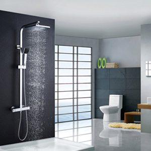 Auralum® klassisch Quadrat-Thermostat Duschesystem mit Handbrause & Top-Spray für Duschen Edelstahl Chrom Wasserfall Duschen Duschset Brauseset Inkl. 2 Jahren Garantie