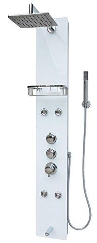 Glas Duschpaneel Duschsäule Duschsystem Regendusche Duscharmatur Handbrause Duschkopf Wanneneinlauf Armatur Massagedüsen Regendusche Silber Weiß