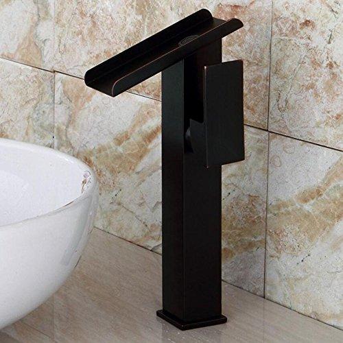 JRUIA Retro Schwarz Wasserfall Wasserhahn Hoher Auslauf Einhebel-Waschtischarmatur Einhand Mischbatterie Bad Aufsatz-waschbecken Armatur aus Messing Öl Eingerieben Bronze Gebürsteter