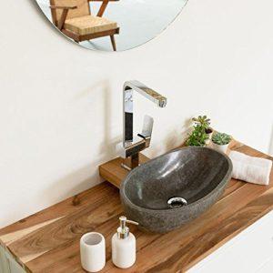 Wohnfreuden Naturstein - Waschbecken Steinwaschbecken oval 40 cm poliert für den Gäste WC Bad Waschtisch | Versandkostenfrei ✓