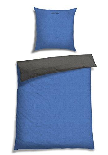 Schiesser Renforcé Bettwäsche Doubleface blau - anthra / 2-teilig / 100% Baumwolle / versch. Größen erhältlich, Größe:135 x 200 cm + 80 x 80 cm