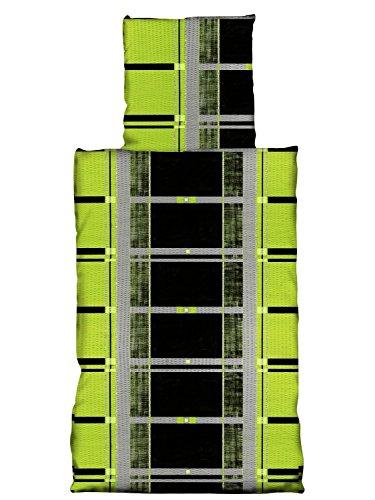 4 teilig Baumwoll Seersucker Bettwäsche BÜGELFREI 135x200 cm, Rainer grün