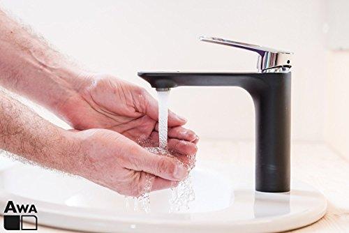 AWA - ANGO - Schwarz & Chrom - Wasserhahn bad Waschbeckenarmatur Waschtischarmatur Einhebelmischer Waschtischbatterie Badarmatur Armatur für Bad