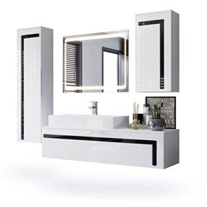 Badmöbel Komplettset Aloha, Korpus in Weiß matt / Fronten in Weiß Hochglanz mit Absetzungen in Schwarz Hochglanz, mit Aufsatzwaschbecken und LED Spiegel