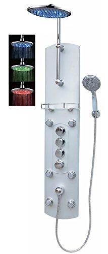 Thermostat Brausepaneel Duschpaneel Duschsäule Duschsystem große Led Regendusche runde Regenwald Dusche mit 6 Massagedüsen aus Aluminium Handbrause Duschkopf Duscharmatur Wand-und-Eckmontage