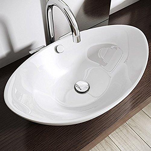 Design-Aufsatzwaschbecken inkl. Lotus-Effekt durch Nano-Versiegelung aus Keramik | BTH: 58x38x19cm | Aufsatz-Waschbecken/Waschtisch