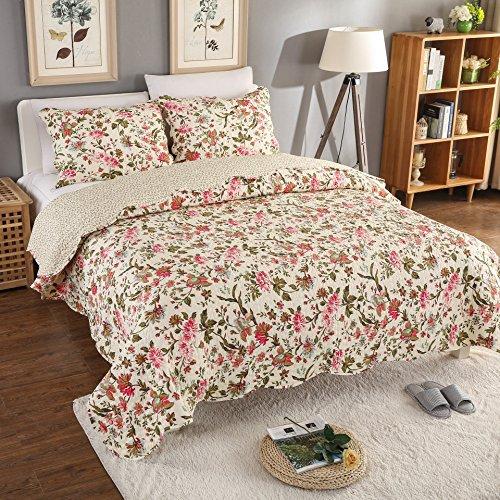 AYSW 2 Teilig geeignet für das ganze Jahr Tagesdecke | Bettwäsche Baumwolle 150×200cm Bunter Blumenstickerei Soft Deckbett mit 1 Kissenbezügen 50×70cm
