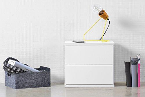 qovi9 basiqs 'der Träumer' Nachttisch, Nachtschrank in Weiß mit Schubladen & Push-to-Open Funktion, 40x36x34 cm (B/H/T)