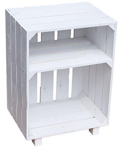 Kistenkolli Altes Land® Nachttisch Abstetlltisch Weiß/Natur/geflammt Maße ca 30x40x55cm Regalkiste Flaschenablage Weinregal Apfelkiste/Weinkiste (Weiß)