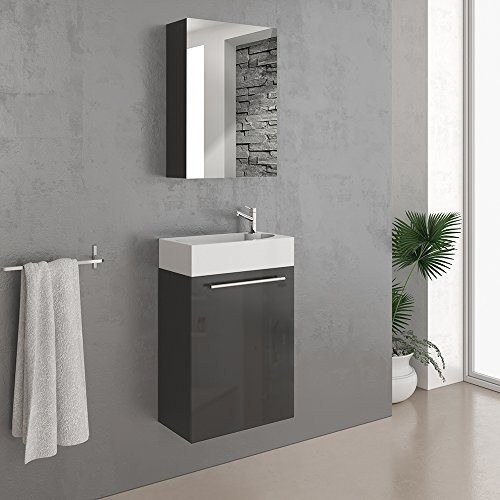 VICCO Waschplatz 45 cm Schwarz Hochglanz - Badmöbel Set - Unterschrank Waschbecken Spiegelschrank Waschtisch Gäste