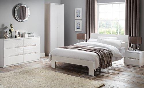 Julian Bowen Manhattan High Gloss Kommode mit 3Schubladen, Holz, Weiß, holz, weiß, glänzend, 45x35x43 cm