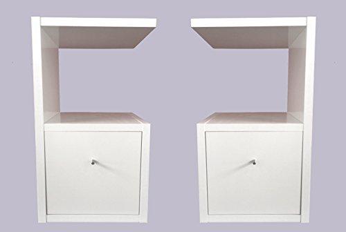 Nachttisch Weiss Glanz mit Schublade als 2er Set Material 25 mm Beistelltisch