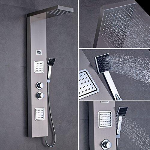 OBEEONR Edelstahl Duschpaneel Set mit Massagejets Wasserfall mit LCD Display Duschpaneel mit Massagejets, Thermostat Duschsäule 125cm, Schlauch 150cm, Wasserfall Überkopfbrause Regendusche