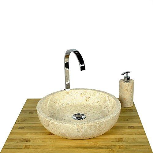 WOHNFREUDEN Marmor Waschbecken 40 cm ✓ groß rund creme ✓ Naturstein Waschplatz Handwaschbecken Steinwaschschale Naturstein-Aufsatzwaschbecken für Ihr Bad ✓ schnell & versandkostenfrei