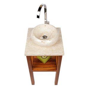WOHNFREUDEN Marmor Waschbecken 30 cm ✓ rund poliert creme ✓ Naturstein Waschplatz Handwaschbecken Steinwaschschale Naturstein-Aufsatzwaschbecken für Ihr Bad ✓ schnell & versandkostenfrei