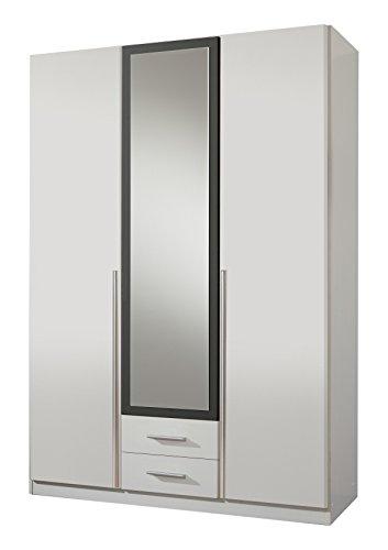 Wimex Kleiderschrank/Drehtürenschrank Skate, 3 Türen, 2 Schubladen, 1 Spiegel, (B/H/T) 135 x 197 x 58 cm, Weiß/Absetzung Anthrazit