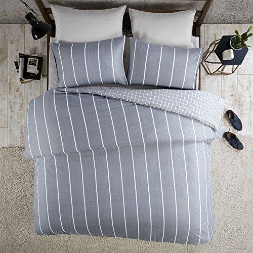 Renforcé Bettwäsche Set Mordern Stripe 3-teilig mit Streifen Gestreift 100% Baumwolle Bettbezug Kissenbezug Geometrisch Doppelbett, 200x200+50x75cm
