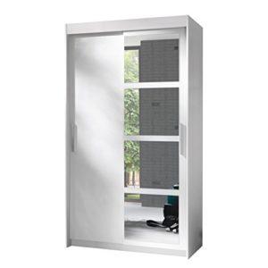 Kleiderschrank Nero 120, Elegantes Schlafzimmerschrank mit Spiegel, 120 x 216 x 60 cm, Modernes Schwebetürenschrank für Schlafzimmer, Jugendzimmer, Schiebetür, (Weiß)