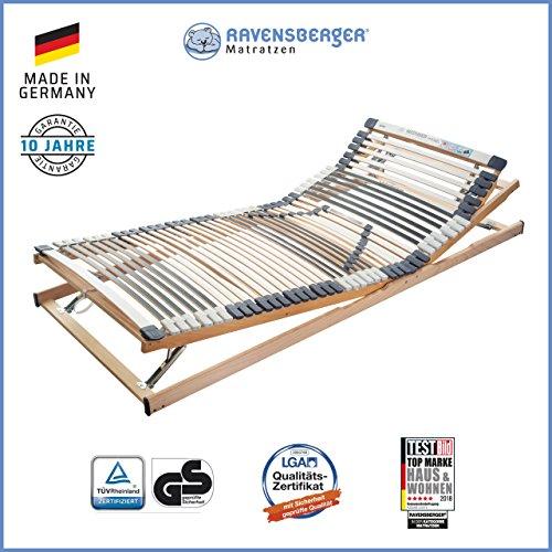 Ravensberger Matratzen Medimed® Lattenrost | 7-Zonen-Buche-Lattenrahmen | 44 Leisten| verstellbar| MADE IN GERMANY - 10 JAHRE GARANTIE | TÜV/GS 90x200 cm