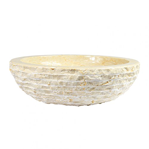 Marmor Waschbecken Stein Becken Basin Bad Waschschale Aufsatzwaschbecken Creme 40 cm Nr. 5