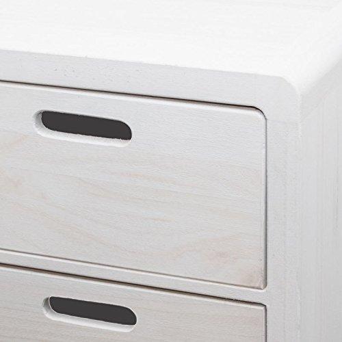 NEG Schubladenschrank VINUJA (shabby chic weiß) 3-tlg. Nachttisch/Kommode/Teetisch aus Echtholz (Paulownia)
