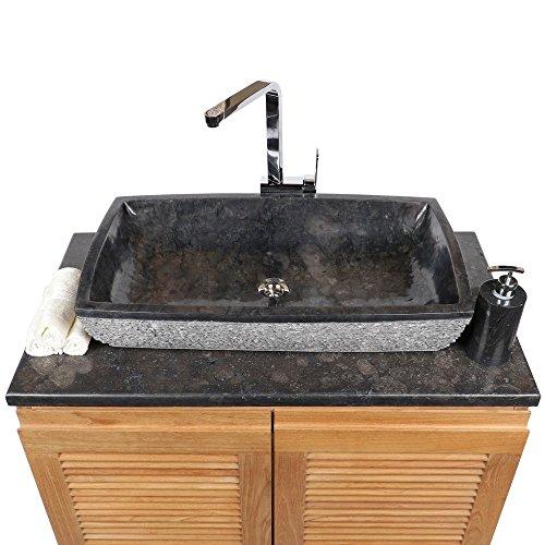 WOHNFREUDEN Marmor Waschbecken MARA 70x40 cm anthrazit ✓ Naturstein Waschschale Handwaschbecken rechteckig gehämmert für Bad Gäste WC ✓ inkl. techn. Zeichnung ✓ schnell & versandkostenfrei ✓