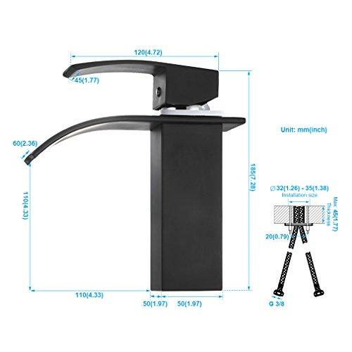 BONADE Wasserfall Bad Wasserhahn Schwarz Waschtischarmatur Waschbeckenarmatur Einhebel Waschbecken Waschtisch Armatur Mischbatterie für Badezimmer