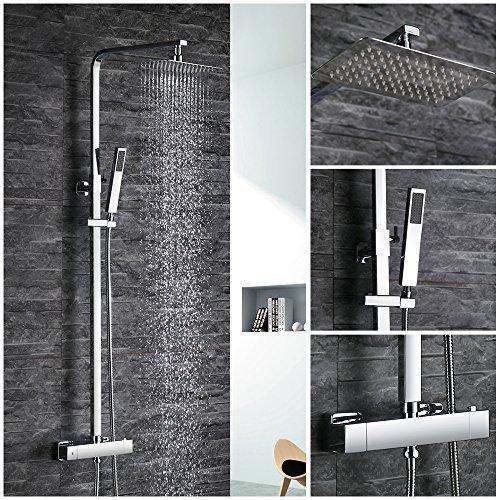 Desfau Eckig Duschsystem Regendusche mit Thermostat Duschset Duschpaneel Duscharmatur inkl. Überkopfbrause Handbrause Regenbrause