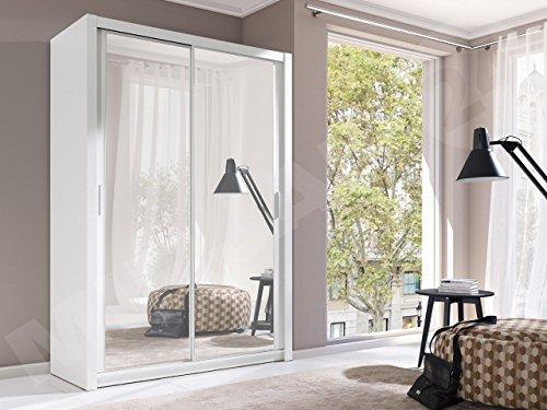 Kleiderschrank mit Spiegel Geodi, Elegante und Modernes Schwebetürenschrank, Schiebetür, Schlafzimmerschrank, Schlafzimmer, Jugendzimmer (120 cm, Weiß)