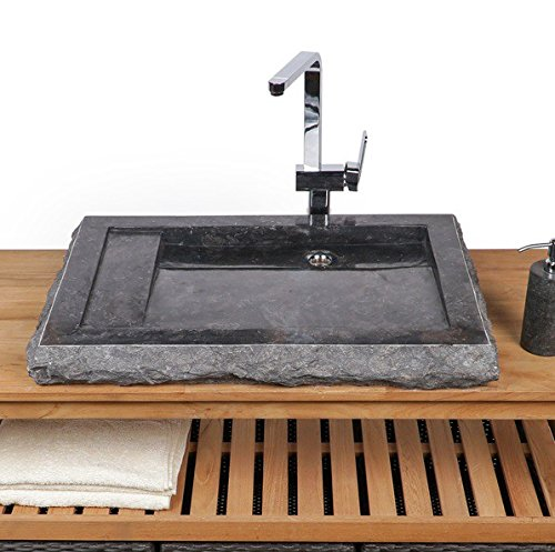 WOHNFREUDEN Marmor Waschbecken 70 cm ✓ groß eckig anthrazit✓ Naturstein Waschplatz Handwaschbecken Steinwaschschale Naturstein-Aufsatzwaschbecken für Ihr Bad ✓ schnell & versandkostenfrei