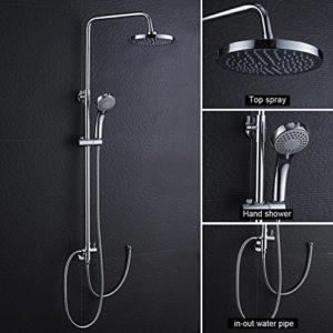 Auralum Chrom Duschset Duscharmatur Kupfer Duschsystem mit Regendusche und Handbrause Ohne Wasserhahn Type C