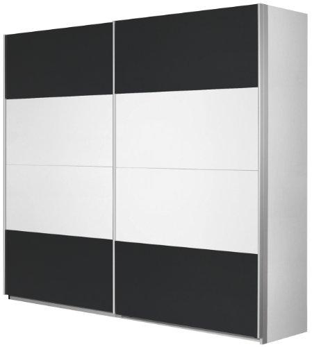 Rauch Schwebetürenschrank Weiß Alpin 2-türig, Absetzung Grau Metallic Nachbildung, BxHxT 136x210x62 cm