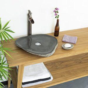 Wohnfreuden Naturstein - Waschbecken 50-60 cm extra flach ✓ Schönes Waschbecken aus Stein für Ihr Bad Gäste WC | Versandkostenfrei ✓