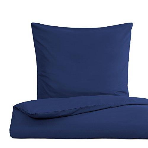 Lumaland Premium Bettwäsche Everyday Ganzjahres Bettbezug mit YKK Reißverschluss 155x220cm & Kissenbezug 80x80cm Navy Blau