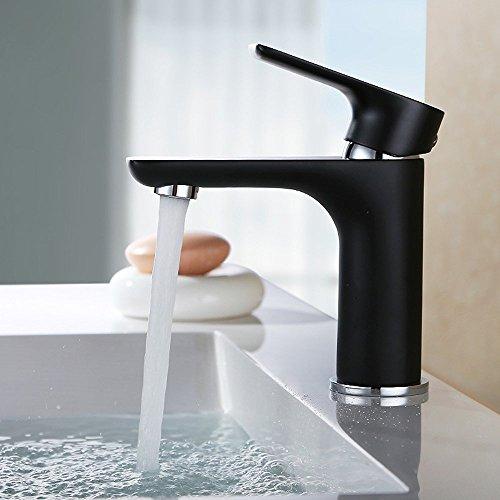 Konhard Schwarz Badarmatur Chrom Wasserhahn Bad Armatur Mischbatterie Einhebelmischer Waschtischmischer Waschbeckenarmatur Waschbecken Armatur f. Bad
