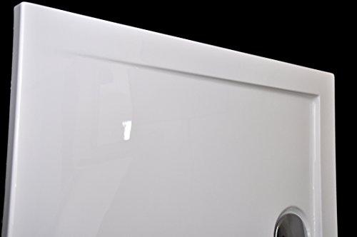 Art-of-Baan® - Extra flache Duschtasse, Duschwanne aus Acryl, glatt Weiß Hochglanz; 140x80x3,5cm inkl. Ablaufgarnitur