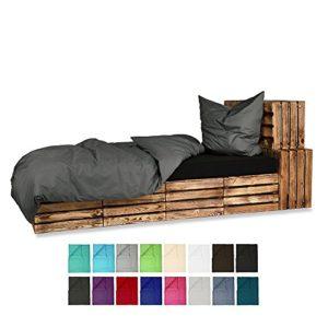 155x220 Bettwäsche Baumwolle UNI Renforce 2-4 teilig mit Reißverschluss - in 16 modernen Farben - 4 tlg. Set 2x 155x220 + 2 x80x80 cm Baumwolle Renforcé Bettwäsche Uni - Anthrazit