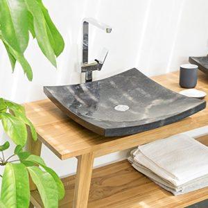 WOHNFREUDEN Marmor Waschbecken ZEN 50 cm anthrazit ✓ Naturstein Waschschale Handwaschbecken rechteckig für Bad Gäste WC ✓ inkl. techn. Zeichnung ✓ schnell & versandkostenfrei ✓