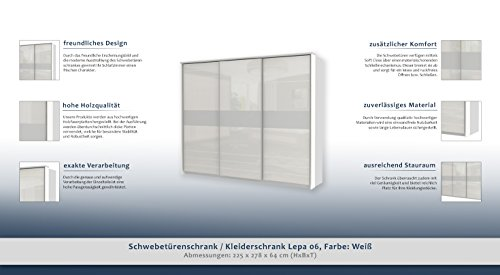 Schwebetürenschrank / Kleiderschrank Lepa 06, Farbe: Weiß - Abmessungen: 225 x 278 x 64 cm (H x B x T)
