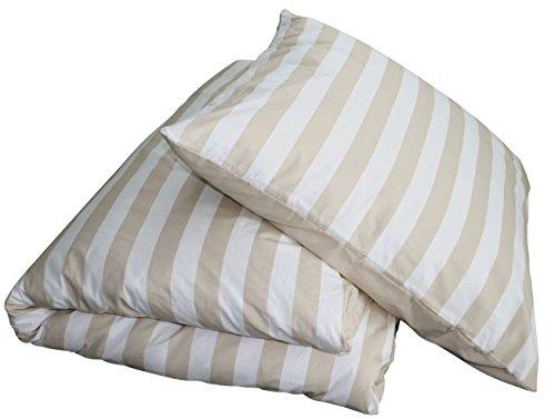Chateau Marques 2tlg Sommer Bettwäsche Streifen Beige-Weiß 135x200 & 80x80 Wende-Bettwäsche OekoTex 100% Baumwolle Edles Streifen-Design Reißverschluss