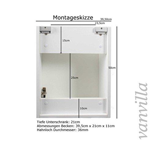 vanvilla Gäste-WC Badmöbel Set Waschplatz Mineralgussbecken Waschbecken mit Unterschrank Schwarz hochglanz RAL 9005