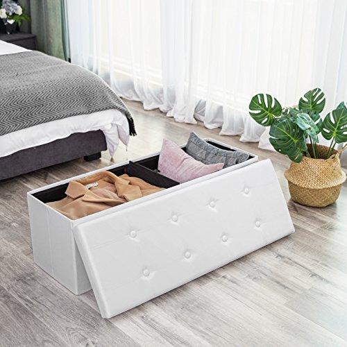 SONGMICS Sitzbank mit 120 L Stauraum, faltbar, für 3-Sitzer, bis 300 kg belastbar, kunstleder, LSF702