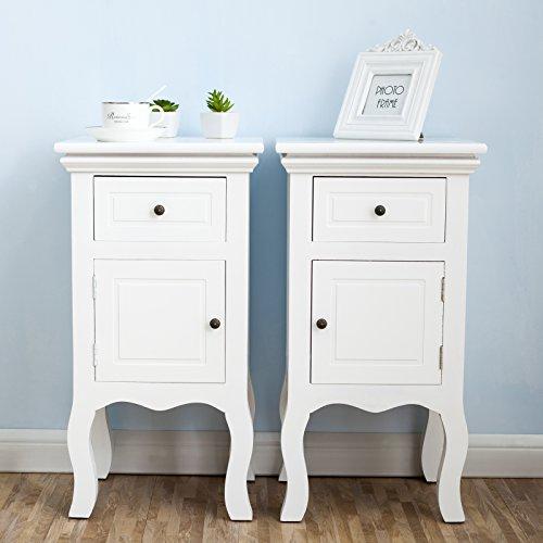 UEnjoy 2 x Nachttisch Nachtschrank Kommode Weiß Holz Schrank mit 1 Schublade & 1 Schrank