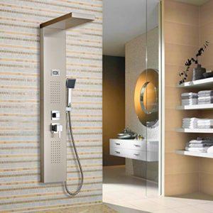 Auralum® 304 Edelstahl Duschpaneel-Set mit drei Funktion:Handbrause&Top Spray&Rückseitedusche Duschsystem mit LED Display Wassertemperatur Anzeigen 2 Jahren Garantie