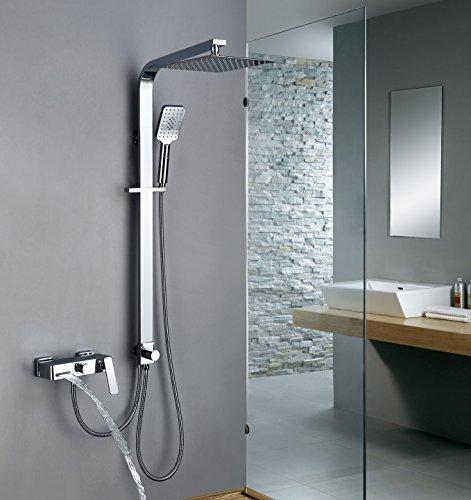 Homelody Trennbar Duschsystem mit Messing Duschpaneel Duscharmatur Regendusche mit Armatur Wasserhahn 3 Funktion Wasserablauf Duschset Rainshower Dusche für Bad/Badewanne