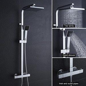 Auralum® Thermostat Duschset Brausethermostat Duschsystem Duscharmatur Kupfer mit Handbrause und Regendusche