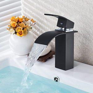BONADE Schwarz Bad Wasserfall Wasserhahn Einhebelmischer Waschbeckenarmatur Waschtischarmatur Waschtischbatterie Badarmatur Armatur Mischbatterie