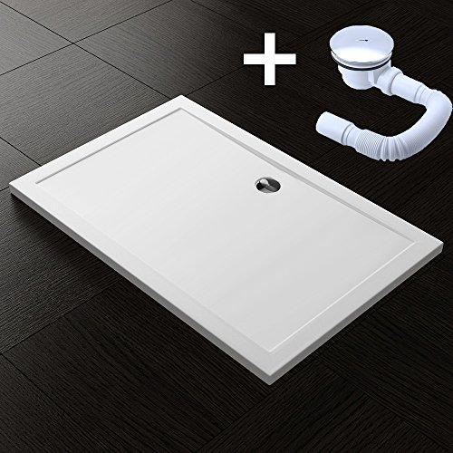 TBH: 100x120x4cm Design Duschtasse Faro2 in Weiß, inkl. Ablaufgarnitur AL01, Duschwanne, Acrylwanne
