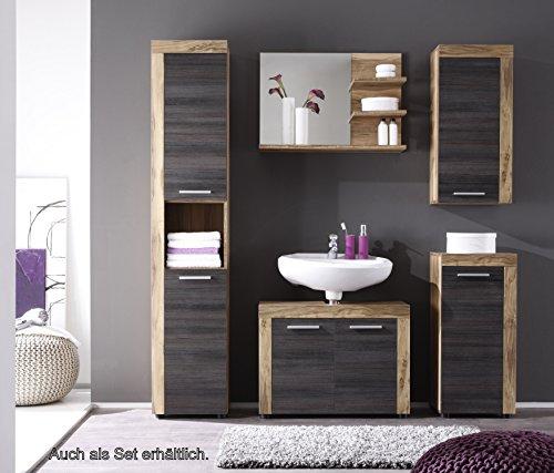 Trendteam 1259-301-59 Badezimmer Waschbeckenunterschrank Unterschrank Cancun Boom, 72 x 56 x 34 cm in Nussbaum Satin  Dekor mit Siphonausschnitt